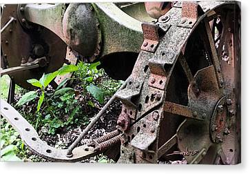 Rusted Axle Planter Canvas Print by Michael Spano
