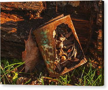 Rusted Can Of Leaves Canvas Print by Jack Zulli