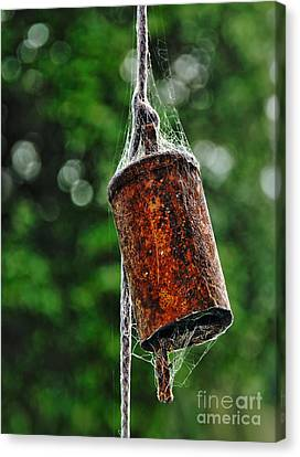 Rusted Old Cowbell Canvas Print by Kaye Menner