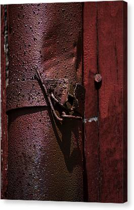 Rusted Pipe And Red Barn 2 Canvas Print by Rebecca Sherman