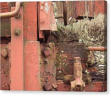 Rusted Train Car Close-up Canvas Print by Debra Boyle