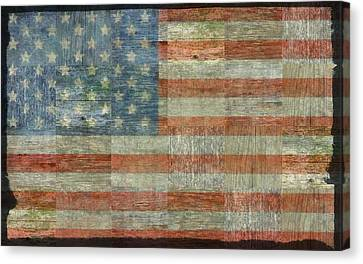 Rustic American Flag Canvas Print by Michelle Calkins
