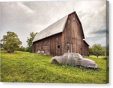 Rustic Art - Old Car And Barn Canvas Print by Gary Heller