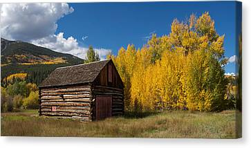 Rustic Barn In Autumn Canvas Print by Aaron Spong
