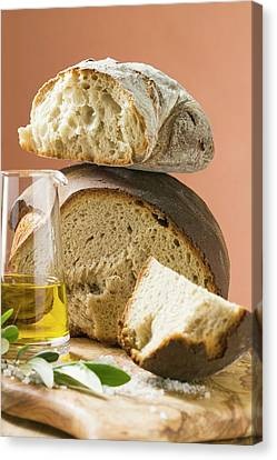 Rustic Bread, Two Loaves With Pieces Cut Off, Olive Oil, Salt Canvas Print