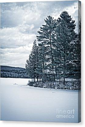 Rustic Cabin On The Pond Canvas Print by Edward Fielding