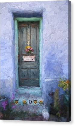 Rustic Door In Tucson Barrio Painterly Effect Canvas Print by Carol Leigh