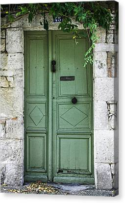South Of France Canvas Print - Rustic Green Door With Vines by Georgia Fowler
