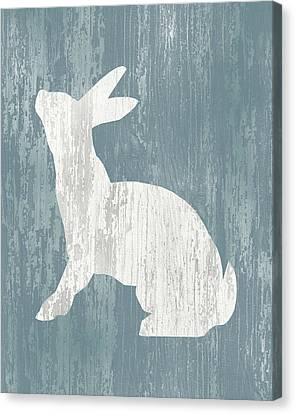 Rustic Rabbit On Wood Canvas Print