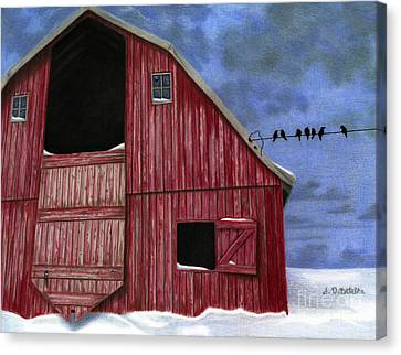 Red Barn In Snow Canvas Print - Rustic Red Barn In Winter by Sarah Batalka