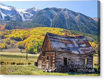 Rustic Rural Colorado Cabin Autumn Landscape Canvas Print by James BO  Insogna