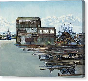 Rustic Schnitzer Steel Building With Trailers At The Port Of Oakland  Canvas Print by Asha Carolyn Young