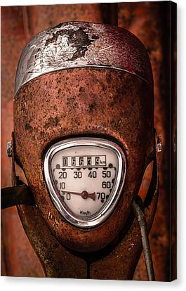 Rustic Speedometer Dial On Vintage Scooter Canvas Print by Mr Doomits