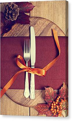 Rustic Table Setting For Autumn Canvas Print by Amanda Elwell