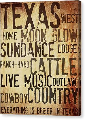 Rustic Texas Art Canvas Print by Chastity Hoff