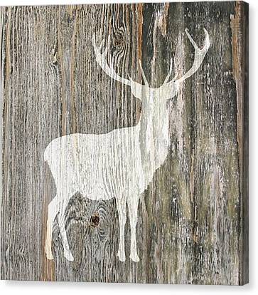 Rustic White Stag Deer Silhouette On Wood Right Facing Canvas Print