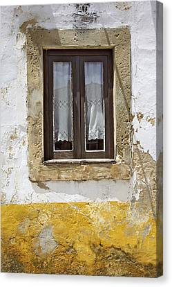 Rustic Window Of Medieval Obidos Canvas Print by David Letts