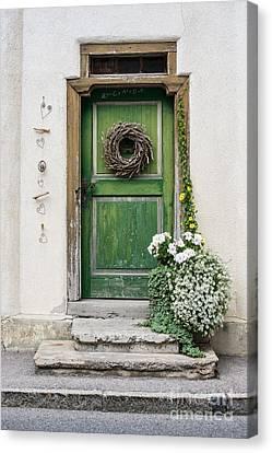 Rustic Wooden Village Door - Austria Canvas Print by Gary Whitton