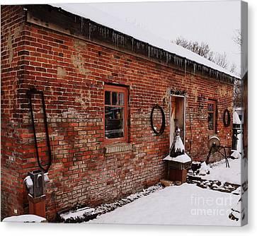 Rustic Workshop In Winter Canvas Print