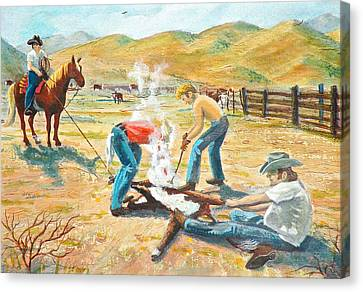 Canvas Print featuring the painting Rustlers Changing The Brand by Dan Redmon