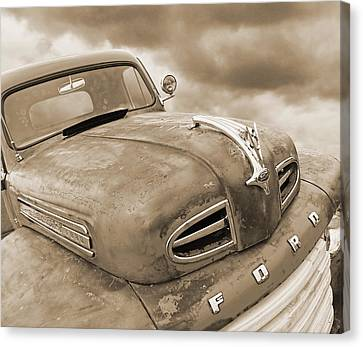 Rusty 1948 Ford V8 In Sepia Canvas Print by Gill Billington