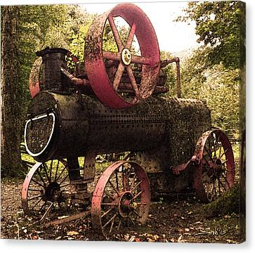 Rusty Antique Steam Engine Canvas Print by Michael Spano