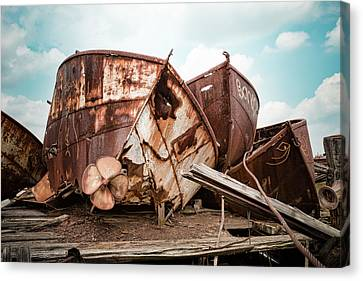 Rusty Boat Hulls - Nautical Vessels Canvas Print by Gary Heller
