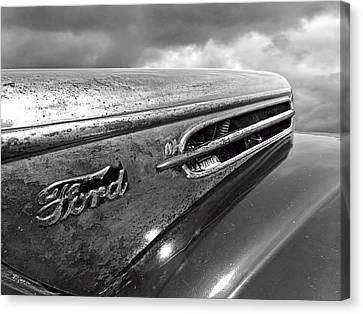 Rusty Ford Hood And Fender 1942 Black And White Canvas Print