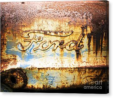 Rusted Cars Canvas Print - Rusty Old Ford Closeup by Edward Fielding