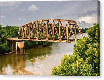 Canvas Print featuring the photograph Rusty Old Railroad Bridge by Sue Smith
