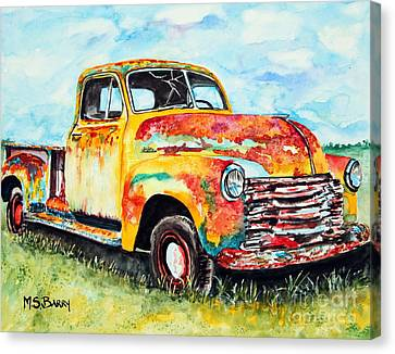 Canvas Print featuring the painting Rusty Old Truck by Maria Barry