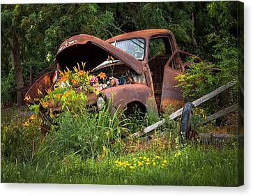 Canvas Print featuring the photograph Rusty Truck Flower Bed - Charming Rustic Country by Gary Heller