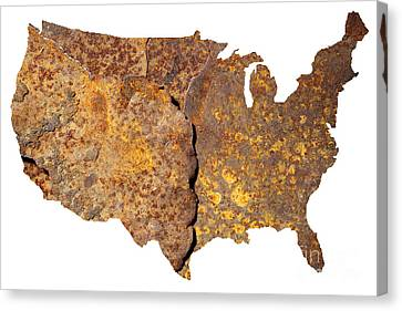 Rusty Usa Map Canvas Print by Tony Cordoza