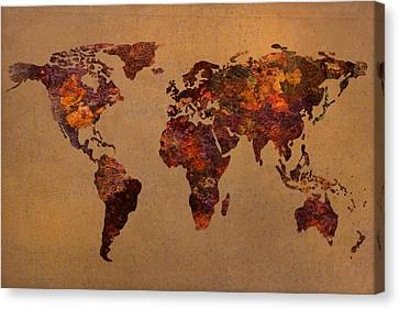 World Map Canvas Print - Rusty Vintage World Map On Old Metal Sheet Wall by Design Turnpike
