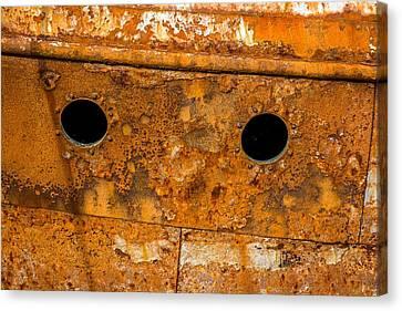 Metallic Sheets Canvas Print - Rusty Wall Of An Abandoned Ship by Andreas Berthold