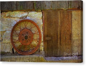 Wooden Wagons Canvas Print - Rusty Wheel by Luther Fine Art