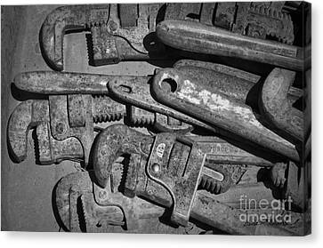Rusty Wrenches Bw Canvas Print by Dave Gordon