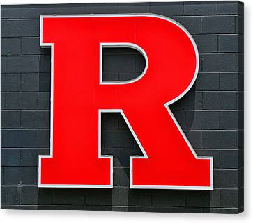 Rutgers Block R Canvas Print by Allen Beatty