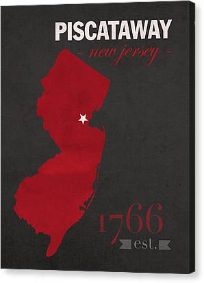 Rutgers University Scarlet Knights Piscataway Nj College Town State Map Poster Series No 092 Canvas Print by Design Turnpike