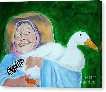Ruthie The Duck Lady Canvas Print by Katie Spicuzza