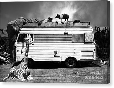 Kitschy Canvas Print - Rv Trailer Park 5d22705 Black And White by Wingsdomain Art and Photography