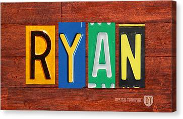 Ryan License Plate Name Sign Fun Kid Room Decor. Canvas Print by Design Turnpike