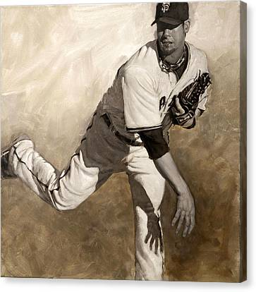San Francisco Giants Canvas Print - Ryan Vogelsong Perseverence by Darren Kerr