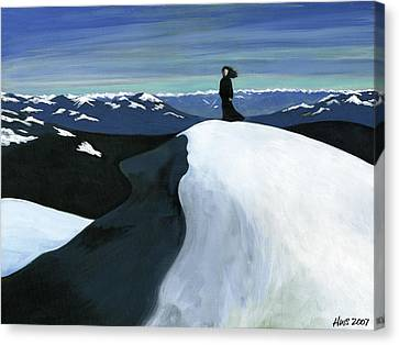 Ryder On The Mountain Canvas Print by Holly  Whitstock Seeger