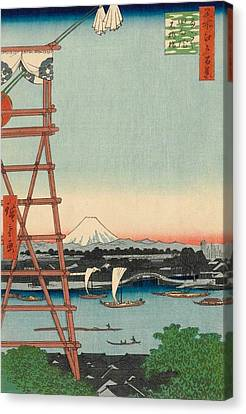 Ryogoku Ekoin And Moto-yanagibashi Bridge Canvas Print by Utagawa Hiroshige