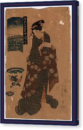 Ryogoku No Hanabi, Fireworks At Ryogoku. Between 1818 Canvas Print by Utagawa, Toyokuni (1769-1825), Japanese