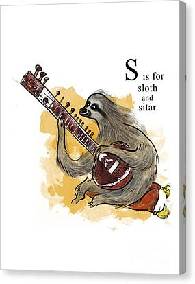 S Is For Sloth Canvas Print by Sean Hagan