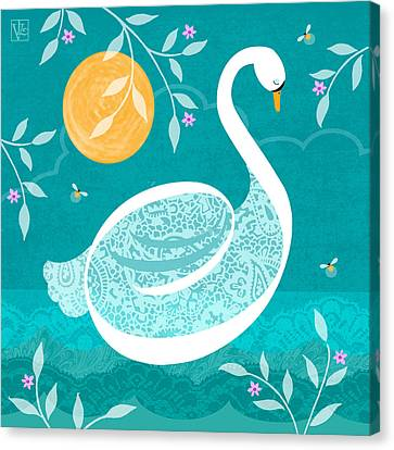 S Is For Swan Canvas Print by Valerie Drake Lesiak