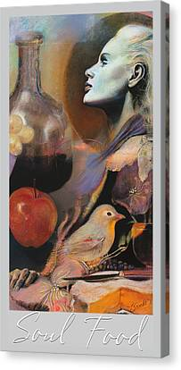 Canvas Print featuring the mixed media Soul Food - With Title And Light Border by Brooks Garten Hauschild