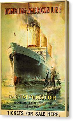 S S Imperator--the World's Largest Ship--hamburg-american Line Canvas Print by Unknown